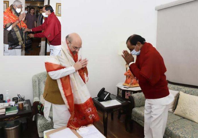 KCR meets Shah, Shekhawat