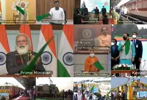 Modi Flags off 8 connecting trains to Statue of Unity